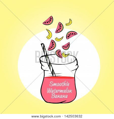 healthy fruit smoothie banana strawberry in Doodle style. Fresh juice for healthy life.