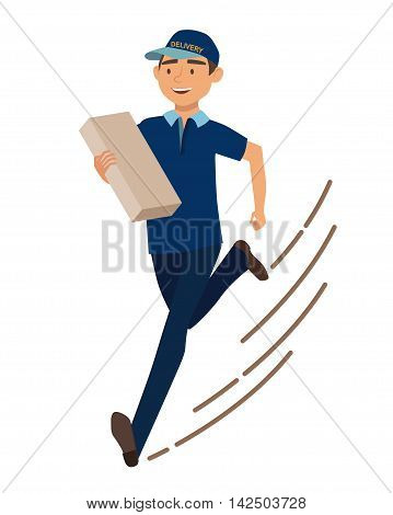 Running man with postal box. Courier with parcel. Vector illustration
