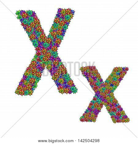 letter X made from bromeliad flowers isolated on white background with clipping path