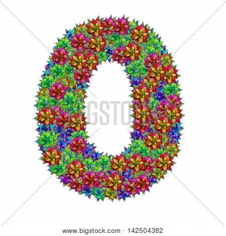 Number 0 made from bromeliad flowers isolated on white background with clipping path