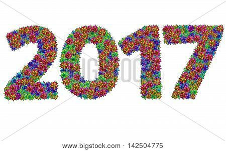 New year 2017 made from bromeliad flowers isolated on white background with clipping path
