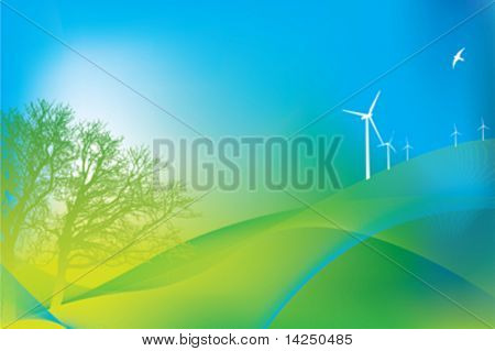 Illustration of  3 wind turbines and oak tree in eco design