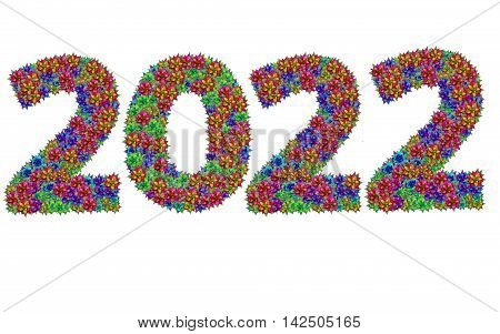 New year 2022 made from bromeliad flowers isolated on white background with clipping path