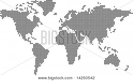 Illustration of the earth flat made out of dots