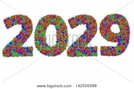 New year 2029 made from bromeliad flowers isolated on white background with clipping path