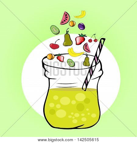 healthy fruit smoothies in Doodle style. Fresh juice for healthy life. Menu element for cafe or restaurant.