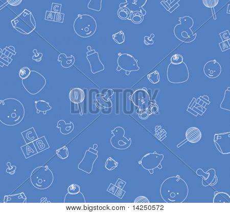 Illustration of blue baby wallpaper background