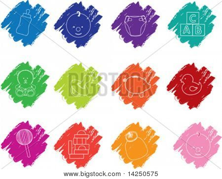 Illustration of  a set of baby crayon icons