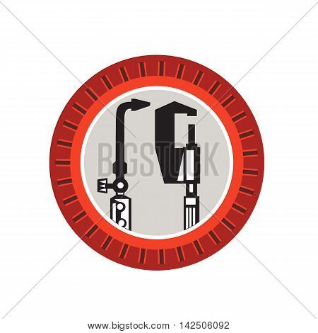 Illustration of a welding torch and caliper tools set inside circle with notches done in retro style.