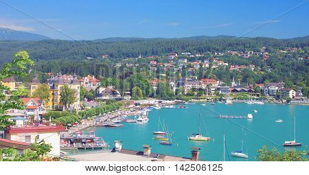 View to Village of Velden at Lake Woerthersee in Carinthia,Austria