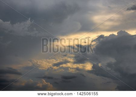 Blue sky and Cloud  with motion raincloud episode sunset beautiful nature