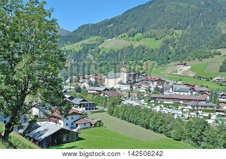 Village of Neustift im Stubaital in Tirol,Alps,Austria