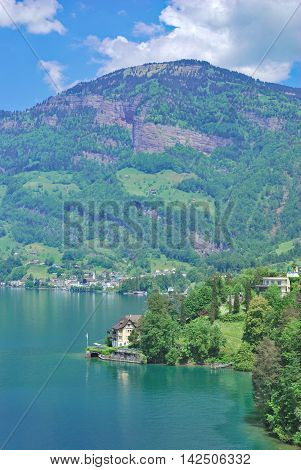 View to Village of Vitznau at Lake Lucerne,Lucerne Canton,Switzerland