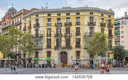 BARCELONA SPAIN - JULY 11 2016: Architecture near Arc de Triomf in Barcelona Spain