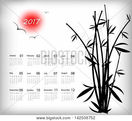 2017 vector calendar eastern style design. Elements for your work. Eps10