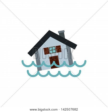 Flood icon in flat style isolated on white background. Danger symbol