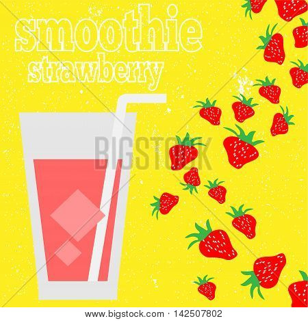Fresh smoothie vector concept. Menu element for cafe or restaurant  made in flat style. Fresh juice for healthy life.