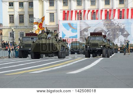 ST. PETERSBURG, RUSSIA - MAY 05, 2015: BTR-82A at the head of the column of military equipment to the rehearsal parade in honor of Victory Day. Saint-Petersburg