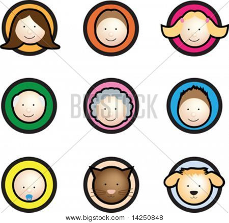 Family face icon set