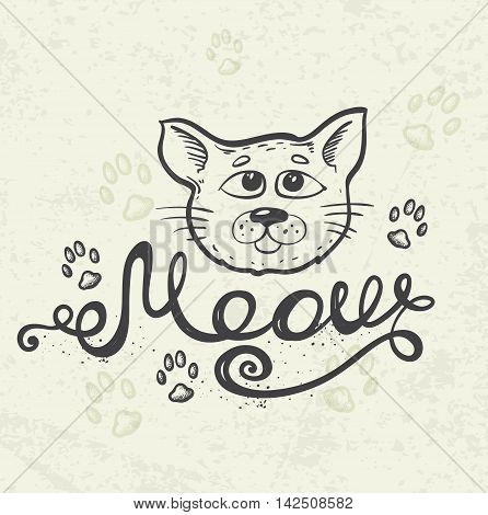 Background with cat muzzle and lettering