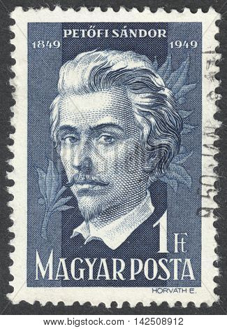 MOSCOW RUSSIA - CIRCA APRIL 2016: a post stamp printed in HUNGARY shows a portrait Sandor Petofi the series
