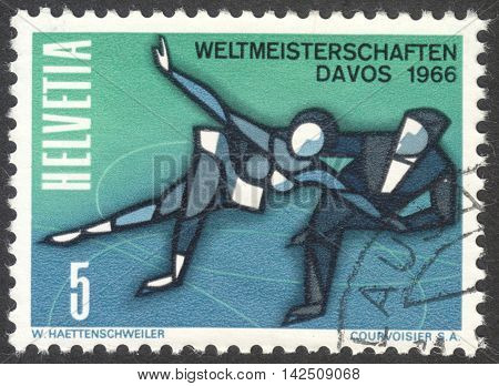 MOSCOW RUSSIA - CIRCA APRIL 2016: a post stamp printed in SWITZERLAND dedicated to the World Ice Skating Championships in Davos 1966 circa 1965