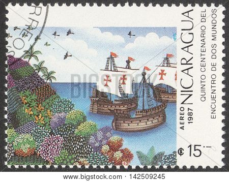 MOSCOW RUSSIA - CIRCA MAY 2016: a post stamp printed in NICARAGUA dedicated to the 500th Anniversary of Discovery of America