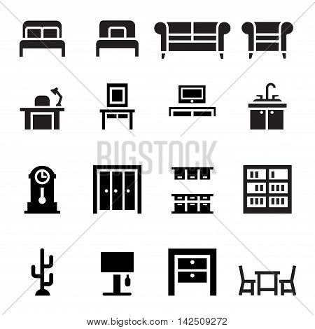 Furniture sofa bed wardrobe dining table interior design icon set