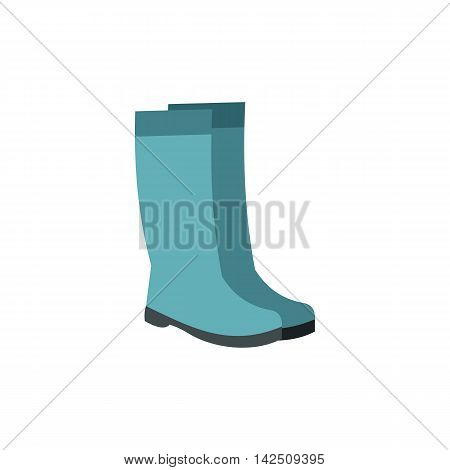 Rubber boots icon in flat style isolated on white background. Shoes symbol