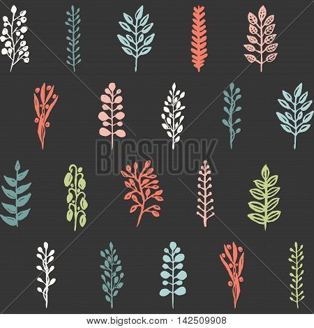 Seamless floral hand drawn pattern with branches, foliage and berries.