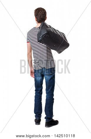 Back view of man with  with a bag. Rear view people collection.  backside view of person.  Isolated over white background. Curly boy in a striped vest is throwing a bag on his shoulder.
