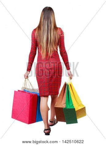 back view of going  woman  with shopping bags . beautiful girl in motion.  backside view of person.  Rear view people collection. Isolated over white background. The girl in red plaid dress goes away
