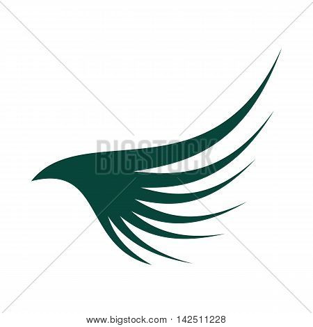 Green wing icon in flat style isolated on white background. Flying symbol