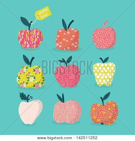 Apples Design With Pattern For Jewish New Year Rosh Hashana. Hand Drawing Vector Illustration
