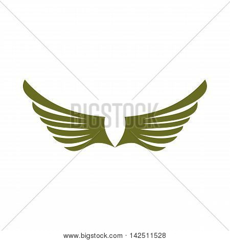 Two green wing birds icon in flat style isolated on white background. Flying symbol