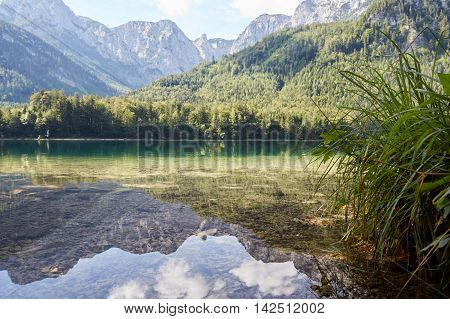 Refections On The Water Of Vorder Langbathsee In Austria