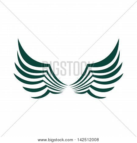 Two green wing birds with feathers icon in flat style isolated on white background. Flying symbol