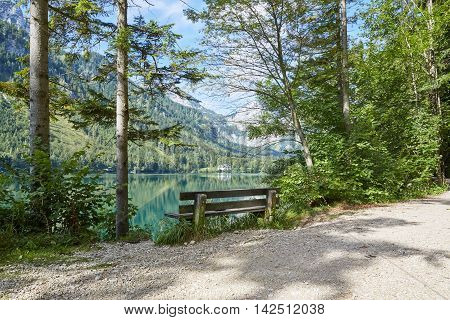 Old Bench At Lake Vorder Langbathsee In Austria