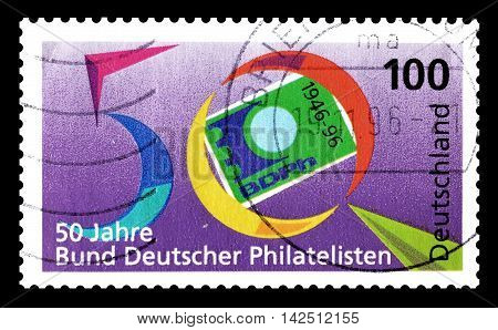 GERMANY - CIRCA 1996 : Cancelled postage stamp printed by Germany, that promotes philately.