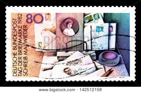GERMANY - CIRCA 1982 : Cancelled postage stamp printed by Germany, that promotes stamp day.