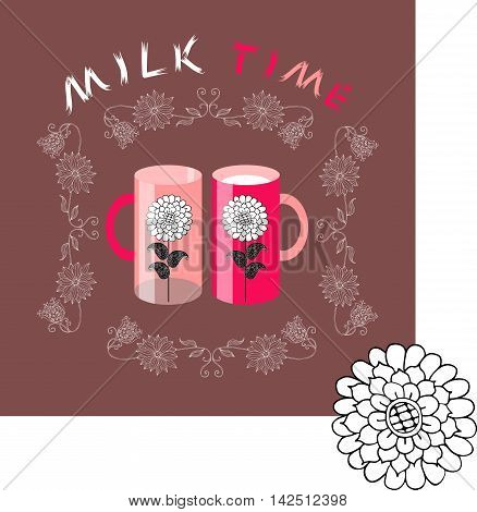 Milk time. Vintage card. Two cups with flowers in floral frame. Vector illustration.