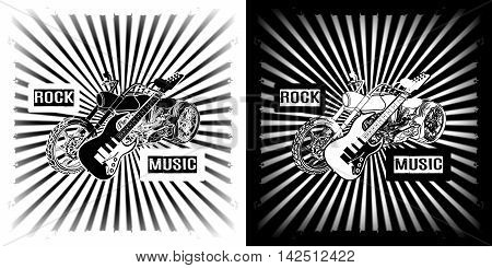 Rock Music Chopper motorcycle with an electric guitar black and white clipart.