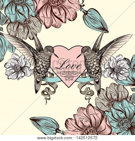 Beautiful invitation card with hummingbirds heart and magnolia flowers for design