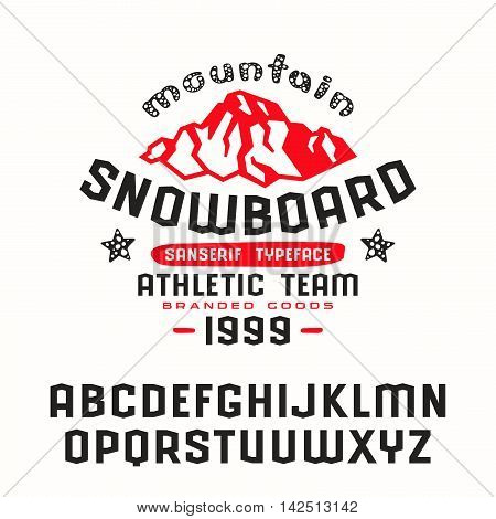 snowboard print for t-shirt. Bold face
