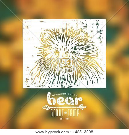 Stock vector linocut with a picture of bear and typographic composition. White print on blurred background
