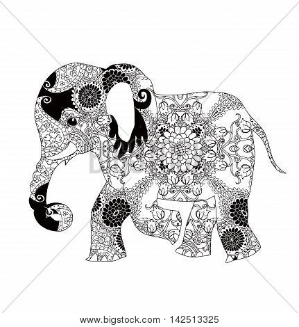 Elephant. Indian decorative pattern. Henna. Silhouette isolated.