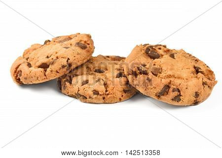 Fresh american cookies. chocolate cookies, isolated on white background.