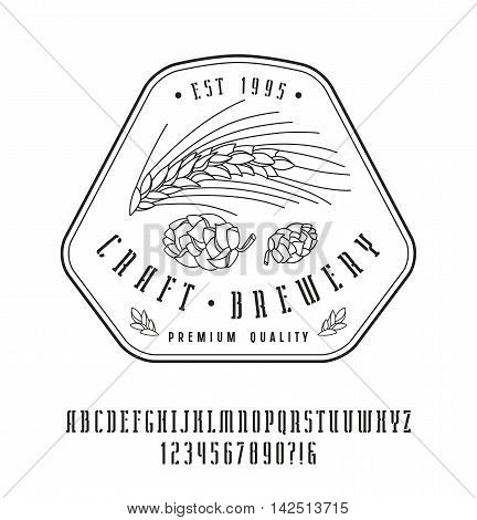 Stencil-plate narrow serif font and craft brewery label. Bold face. Black print on white background