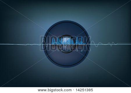 illustration of soundwaves and a speaker system