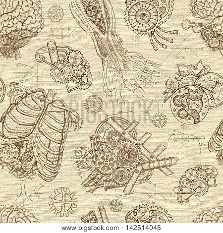 Robot creation. Seamless textured background with body parts and old mechanisms. Hand drawn repeated illustration with vintage cogs, gears, human ribs and hand in steampunk technology style